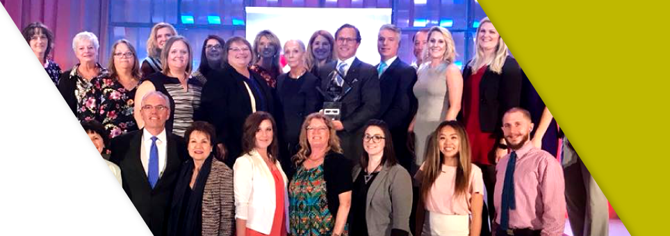 The Lead Bank team receiving the Mr. K and Small Business of the year award in Kansas City