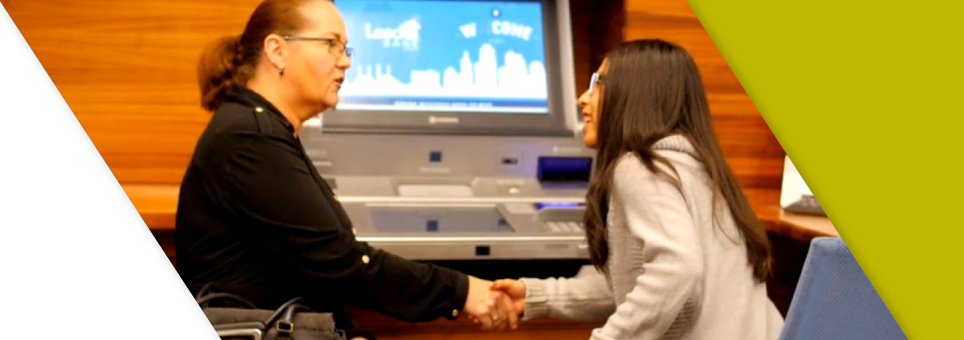 A Lead Bank banker meeting with a client in the Kansas City community location